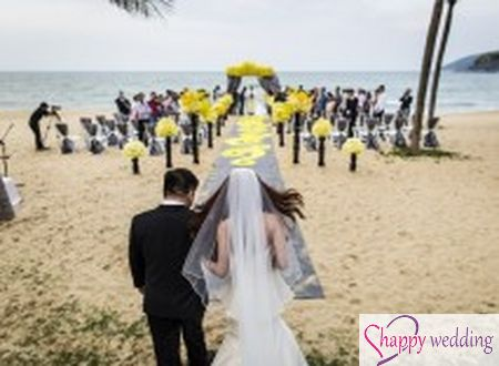 Biển tình yêu - Đám cưới tông vàng xám nổi bật