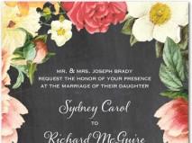 Thiệp cưới đẹp màu đen in hoa vintage
