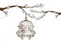 Thiệp cưới đẹp màu tím hình hai chú chim non