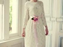 Áo cưới ngắn cổ thuyền ren hoa tay dài - Marry