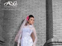 Áo dài cưới ren voan trắng cúp ngực ngang  - Marry
