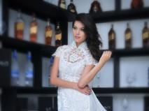 Áo dài cưới trắng tay ngắn ren nổi - Marry