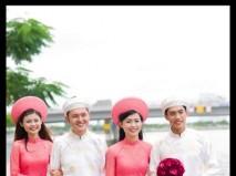 Áo dài phụ dâu phụ rể trắng - hồng - Marry