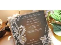 Thiệp cưới đẹp màu đen in hoa văn màu đồng  - Marry
