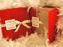 Thiệp cưới đẹp màu đỏ phối cùng ruy băng trắng - Marry