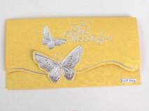 Thiệp cưới đẹp màu vàng họa tiết nổi hình con bướm - Marry