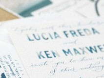 Thiệp cưới đẹp màu xanh dương in chữ màu nước  - Marry