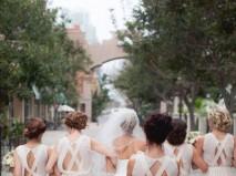 Váy phụ dâu màu trắng lưng cách điệu - Marry
