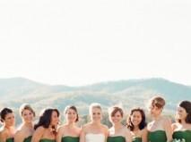 Váy phụ dâu màu xanh lá cúp ngực chân váy dài - Marry