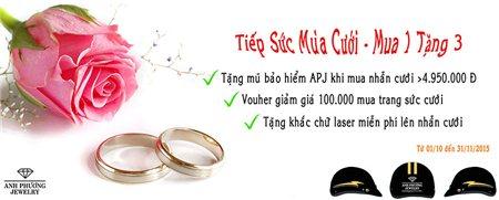 Trang sức APJ `Tiếp sức mùa cưới - Mua 1 tặng 3`