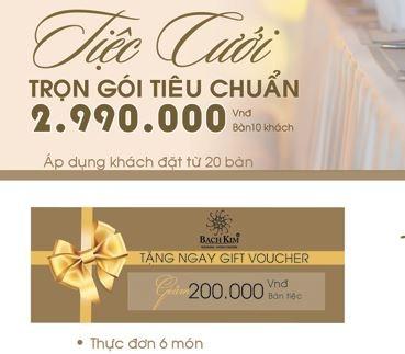 -  Chương trình dịch vụ cưới trọn gói chỉ với 2.990.000 Vnđ/Bàn tiệc, với nhiều chương trình dịch vụ đa dạng phóng phú mang lại cho buổi tiệc của bạn hoàn hảo đến từng chi tiết.