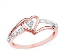 Nhẫn cưới vàng hồng kiểu dáng hình trái tim đính kim cương - Marry