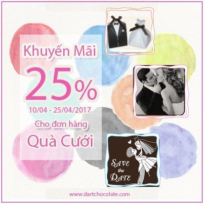 CHIA SẺ SỰ NGỌT NGÀO MÙA CƯỚI – GIẢM GIÁ 25% CHO WEDDING CHOCOLATE