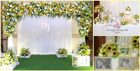 Gói tiết kiệm chỉ 12 triệu cho bàn gallery hoa tươi + backdrop chụp hình hoa lụa