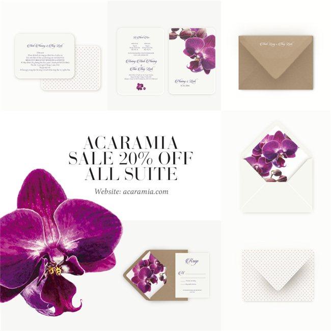 Đặt thiệp cưới tiết kiệm với chương trình Sale 20% off chỉ có tại Acaramia