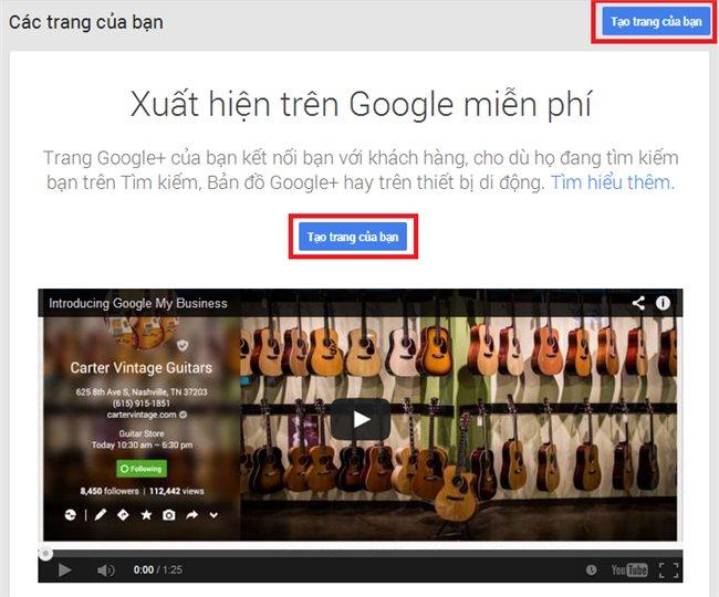 Hướng dẫn tạo Fanpage Google +