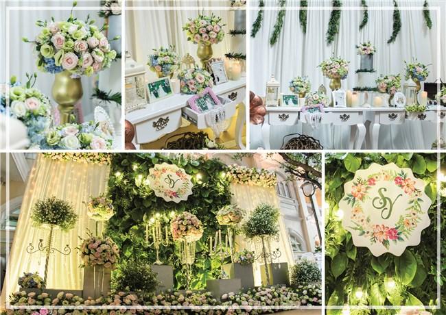 Trang trí đám cưới tông xanh với hoa sen đá..