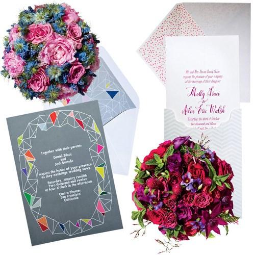 Tạo điểm nhấn với thiệp cưới và hoa cầm tay cô dâu ton sur ton..