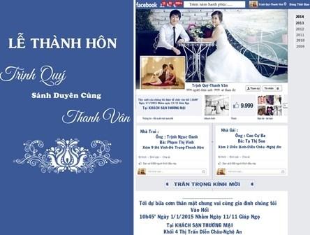 Mời thiệp cưới qua... Facebook..
