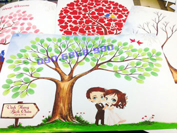 tranh vân tay - wedding tree